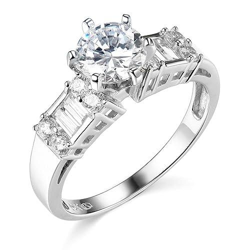 14 K Amarillo o de oro blanco de boda anillo de compromiso