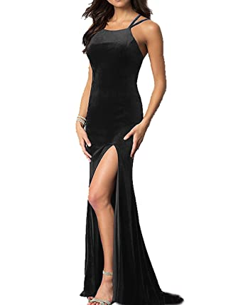 JQLD Mermaid Long High-Neck Velvet Prom Dresses 2018 Sexy Backless Side Slit Evening Gown