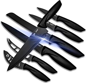 Kitchen Knife Set - 7 Piece Stainless Steel Black Knives Set For Kitchen- Sharp, Rust Proof And Scratch Resistant - Professional Knife Set