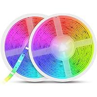 LED Strips RGB 10m, AUELEK 2x5m LED Strips 12V 300 LED's met Waterdichte IP65/ DIY Kleurmodi/Snijdbaar/Afstandsbediening…