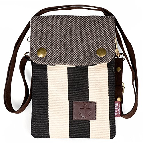Adorable Little Purse, Katloo Super Cute Nautical Stripe Canvas Cross-body Bag Phone Pouch for iPhone 6/6S Plus Galaxy Note Series/S7 Edge+Stylus Pen (Htc One Mini Accesories compare prices)
