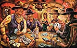 Hotel Leone print from Art by Dano featuring John Wayne, Lee Marvin, and the Man With No Name playing poker