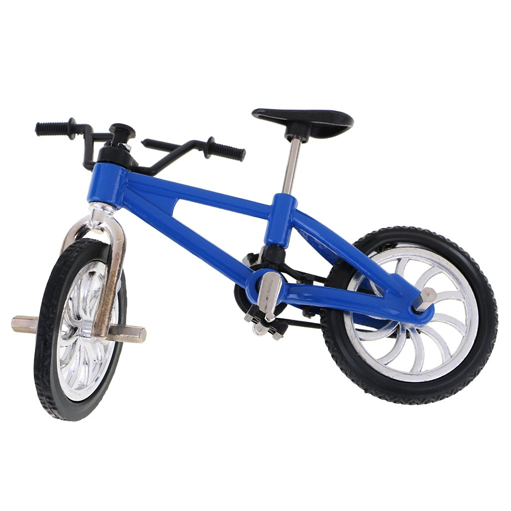 Dovewill Cool Finger Mountain Bike Miniature Metal Bicycle Model Creative Game for Children Kids Gift Blue