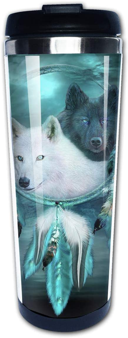 FsszpZZ Coffee Cups Native American Dream Catcher Wolf Vacuum Insulated Stainless Steel Water Bottle Coffee Tumbler Travel Mug Cup for Men Women Kids Home Office School Travel Hiking Camping Gifts