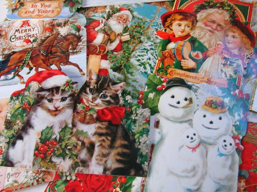 (24 Greeting Card Assortment By Punch Studio, Holiday Christmas Victorian Ephemera with Cats, Dogs, St Nick, Santa, Botanicals, Angels, Children...)