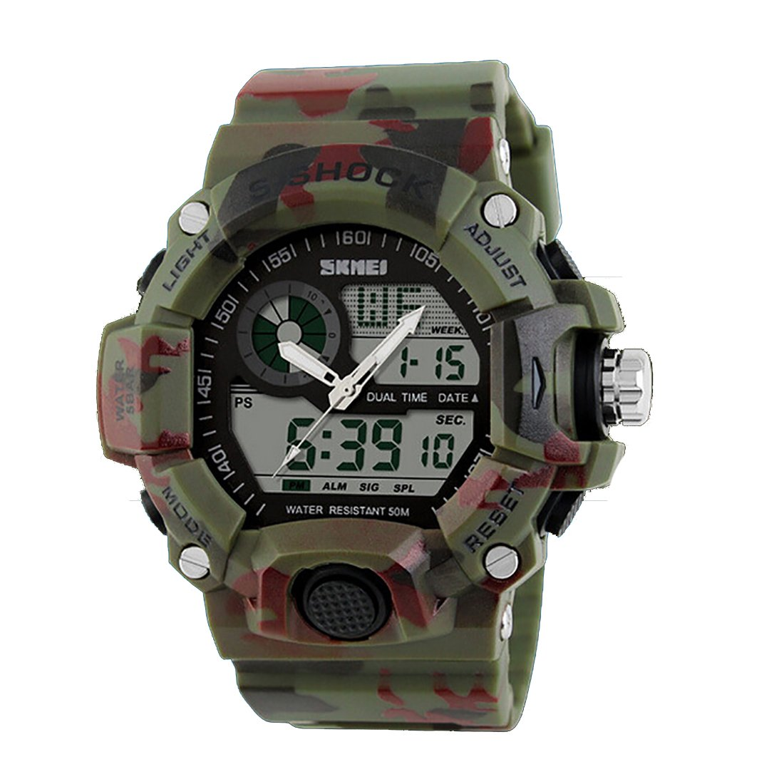 Amazon.com: Quartz Digital Camo Waterproof Watch Men Dual Time Man Sports Watches Men Luxury Reloj Hombre Bright Green: Watches