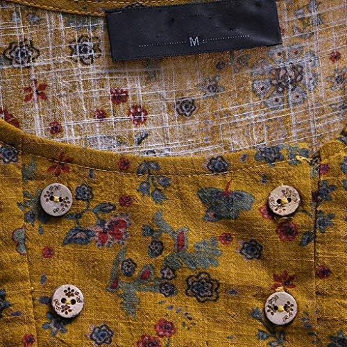Mujer Corta Para Yellow Sólido Tops Tamaño Blusa Patchwork Y De O Color Mujer La Gran Camiseta Manga Algodón Womens Bazhahei neck Lino Encaje Larga Camiseta 5q1WntS8S