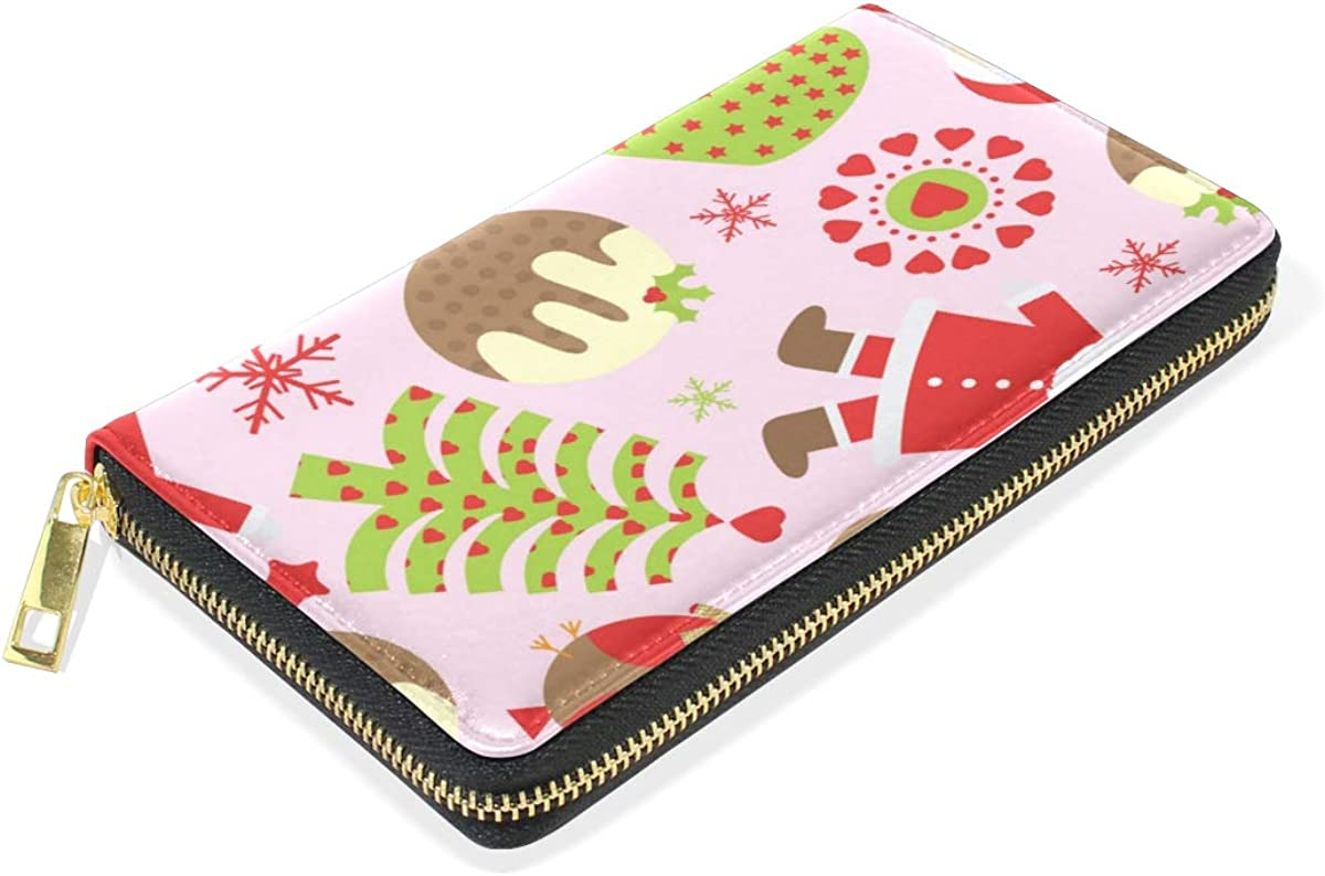 Santa Claus Christmas Wallet Real Leather Purse Credit Card Holder for Women Phone Girl