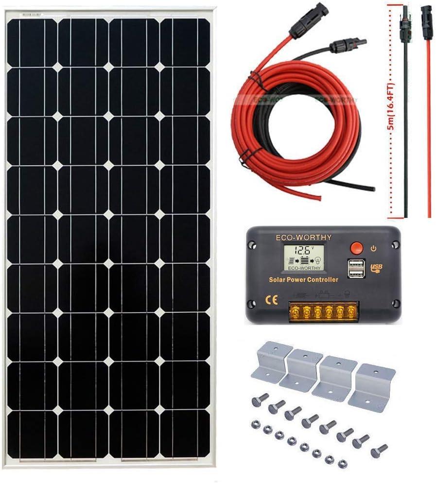 ECO-WORTHY 100W 12V Off Grid Mono Solar System 100W Solar Panel 20A Solar Controller 16ft Cable for RV Boat Caravan Garden