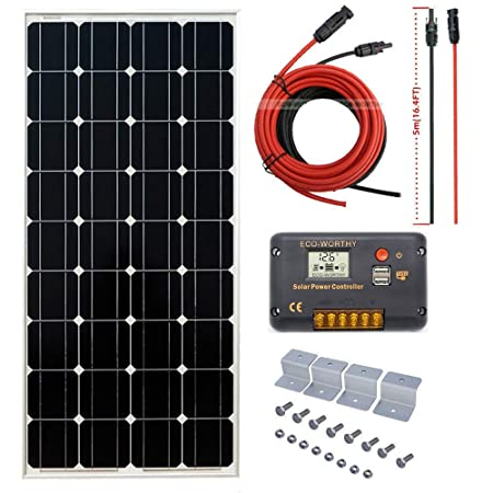 ECO-WORTHY 100W 12V Off Grid Mono Solar System 100W Solar Panel 20A Solar Controller 16ft Cable for RV Boat Caravan Garden