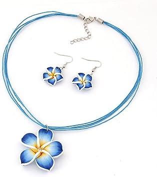 UxradG 6 Farben Ohrringe + Halskette Anhänger Set Hawaii Plumeria Blumen Elegant Fimo Polymer Clay Schmuck für Frauen Mädchen, blau, Free Size