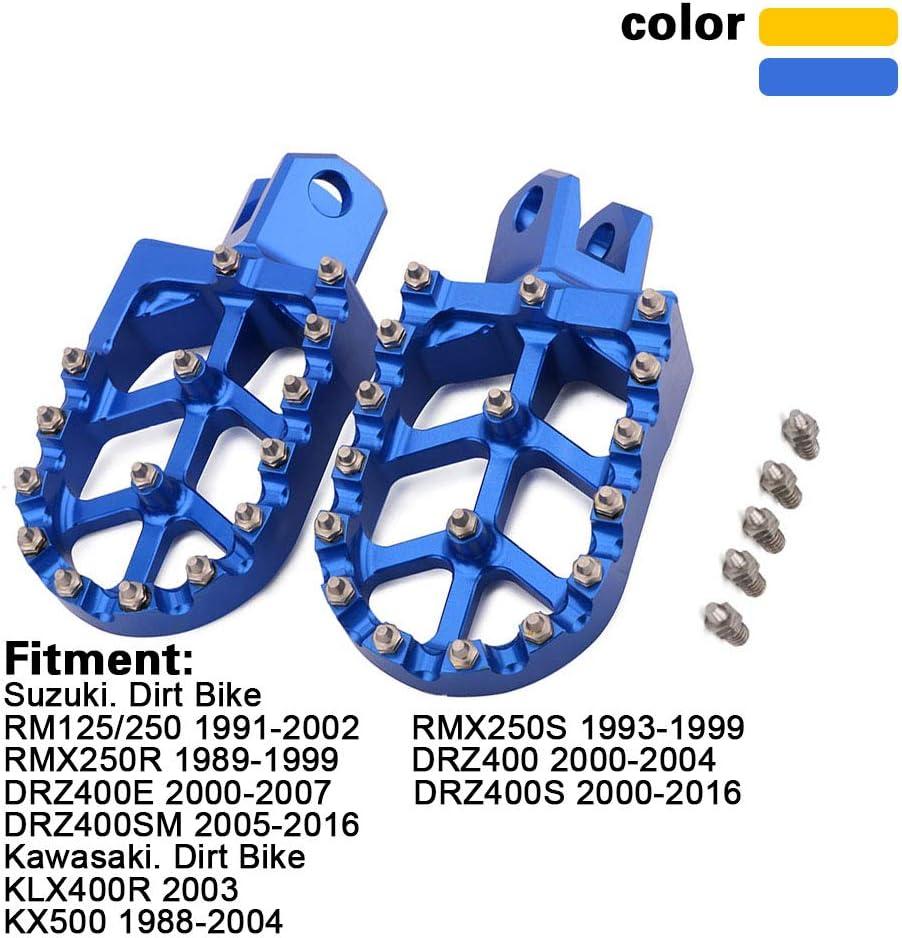 Foot Pegs Footpegs Footrest Pedals CNC Aluminum Foot rests For Suzuki RM125 86-06 RM250 89-06 RM250Z 01-06 RMX250 89-96 DR-Z 400 DR-Z 400E DR-Z 400SDR-Z 400SM KLX400R Dirt Bike Gold