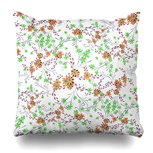 Ahawoso Throw Pillow Cover Flower Blossom Little Flowers Cute Daisy Nature Calico Chintz Country Ditsy Ditzy Design Home Decor Pillowcase Square Size 16 x 16 Inches Zippered Cushion Case