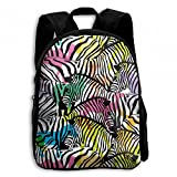 Zebra With Colorful Wildlife Africa Student School Backpacks Canvas Book Bag Casual Daypack Travel For Children