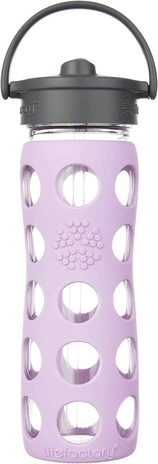 Lifefactory 16-Ounce BPA-Free Glass Water Bottle with Straw Cap and Protective Silicone Sleeve, Lilac