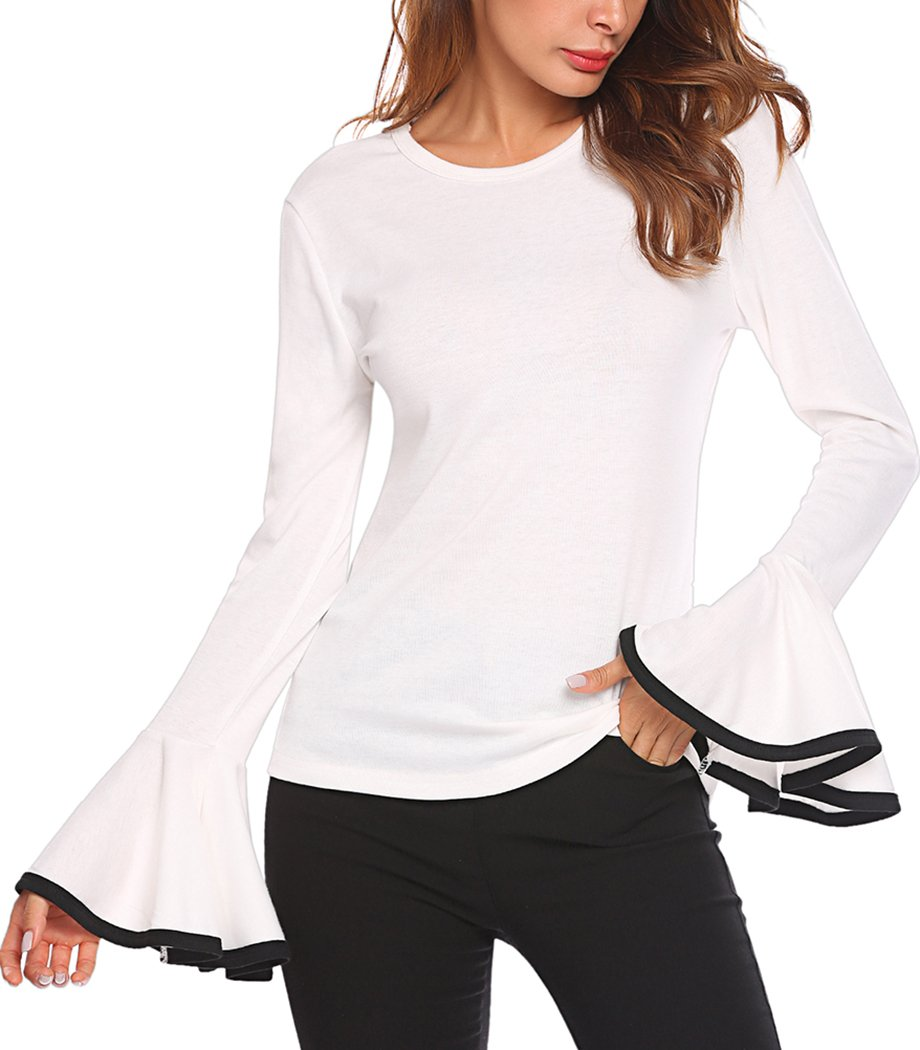 85883537a26804 Women's Long Bell Sleeve Blouse Loose Trumpet T-Shirt Casual Solid Flare  Tops product image