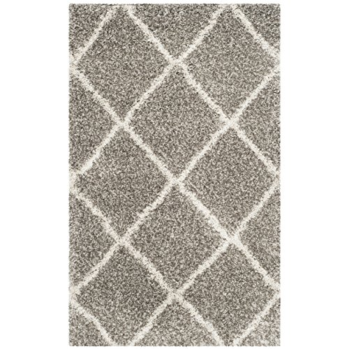 Safavieh Hudson Shag Collection SGH281B Grey and Ivory Moroc