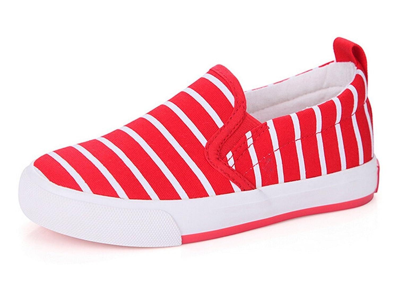 Bumud Boy's Girl's Striped Canvas Slip-On Sneaker Flat Shoe (Toddler/Little Kid)