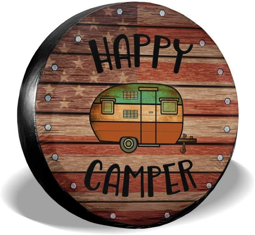 Deaowangluo Spare Wheel Tire Cover Jeep RV SUV Spare Tire Cover Camping Happy Camper Trailer Truck Travel Trailer Universal Fits 14 Inch