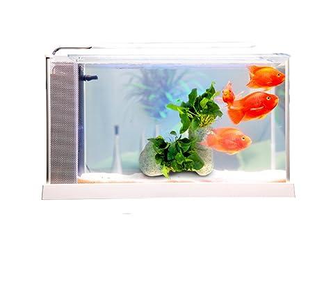 Jiangu acuario, filtro silencioso, acuario de cristal, mini pecera, acuario casero