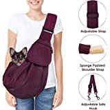 SlowTon Pet Carrier, Doggie Cat Hand Free Sling Carry Dog Papoose Carrie Adjustable Padded Shoulder Strap Tote Bag with Front Pocket Safety Belt Outdoor Travel Puppy Carrying for Walking Subway (Wine Red)