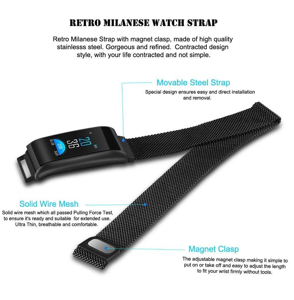 CJZSA Fitness Tracker, Smart Watch con pulsómetro y tensiómetro para iOS y Android, Resistente al Agua, de Acero con Monitor de Actividad de sueño y oxígeno ...