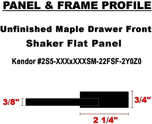 Unfinished Maple Shaker Drawer Front by Kendor 9H x 18W