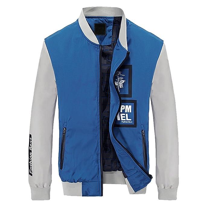Hombre caida fina chaqueta delgada cremallera aire libre Azul Asia 3XL-EU XL