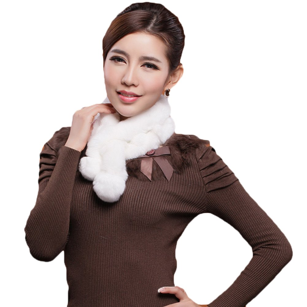 Mingxin real rabbit fur scarf concise slim style shawl warm collar shawl stole by MINGXINTECH