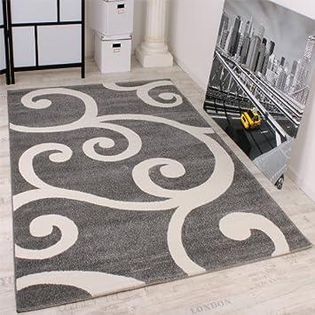 Teppich hellgrau weiss  Designer Teppich Muster in Grau Weiss Top Qualität zum Top Preis ...