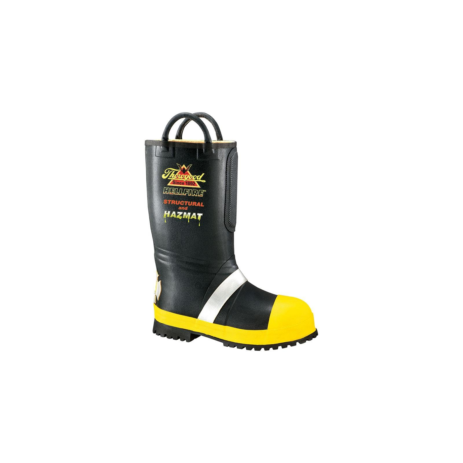 Women's Thorogood 14 inch Rubber Insulated Firefighting Boots with Lug Outsole, BLACK, 8.5