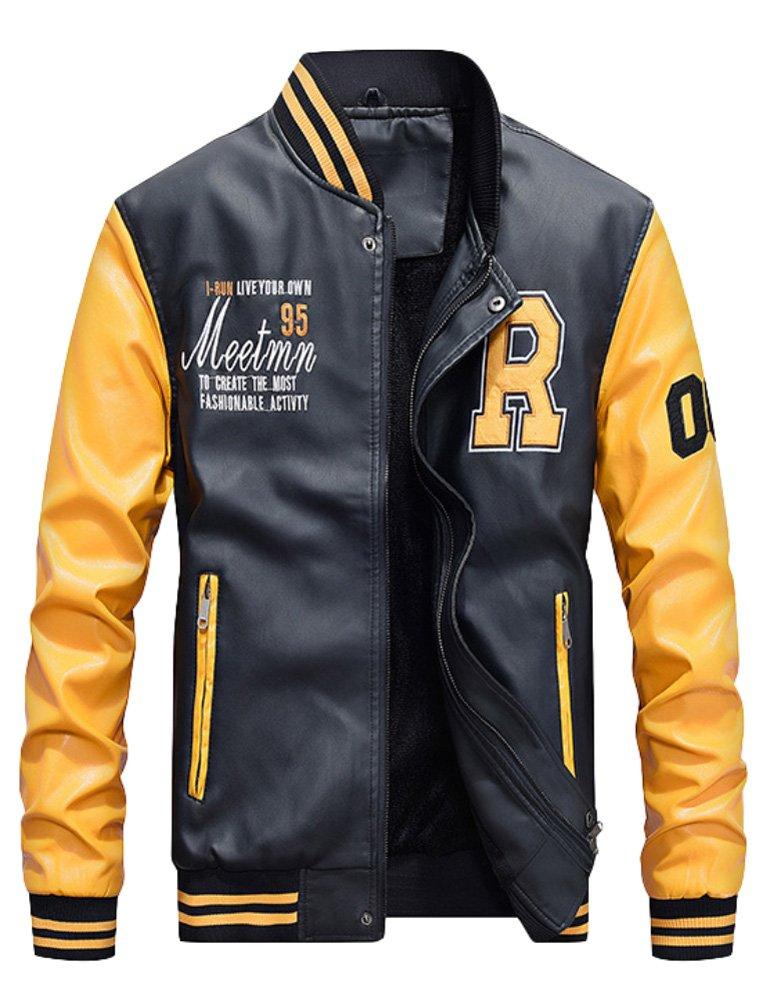 Mordenmiss Men's Basic Leather Letter Man Baseball Varsity Jacket Bomber Outwear Yellow M by Mordenmiss