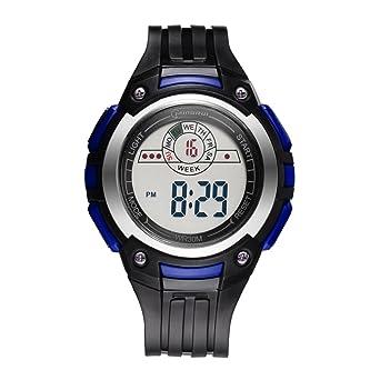 Hombre Relojes electrónicos,Chico Estudiante Impermeable Réplica luminosa Despertador Movimiento Goma Correa con hebilla pasador-C: Amazon.es: Relojes