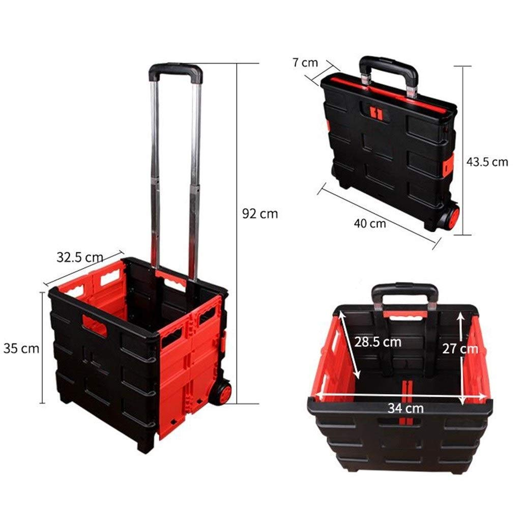 Beam Trolleys Hand Cart Portable Shopping Cart Elderly Shopping Cart Collapsible Light Hand Cart Light Trolley Home Small Trailer Luggage Cart Easy to Store Gift Color : Red, Size : 3532.592cm