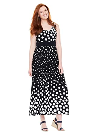 Womens Plus Size Petite Empire Waist Maxi Dress Black White Dot L