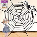 Pawliss Halloween Round Spider Web with Scary Giant...