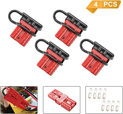 DEFEND INDUST 50A 6-10 Gauge Universal Battery Connect Quick Disconnect Wire Harness Plugs with Handle for Winch Auto Car Trailer Driver Electrical Devices,8 Pack