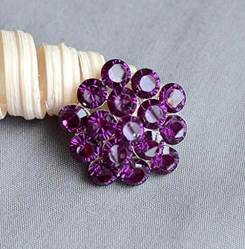 Amethyst Bouquet - 10 Rhinestone Button Dark Eggplant Amethyst Purple Crystal Wedding Brooch Bouquet Invitation Hair Comb Shoe Clip BT115
