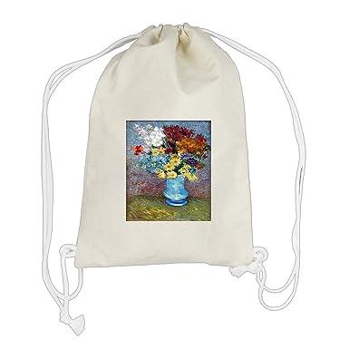 Amazon Flowers In A Blue Vase Van Gogh Cotton Canvas
