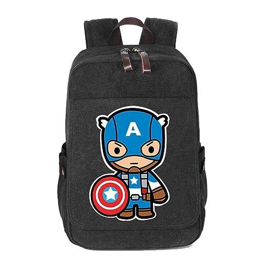 YOURNELO Boy s Leisure Marvel Travel Rucksack School Backpack Bookbag (Captain  America Black ... e2d093ed5f3f9