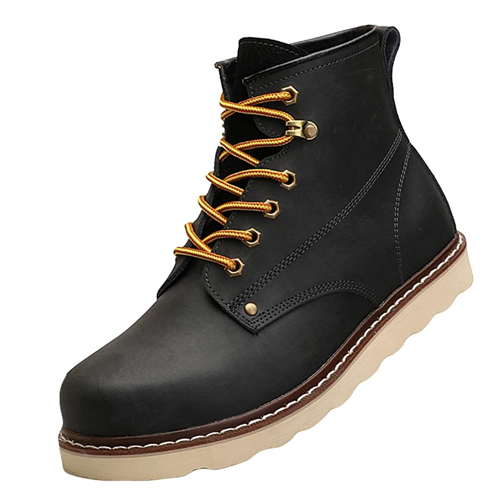 Liveinu Men Women Couple Chukka Boots Winter Leather Lace Up Ankle Bootie Martin Boots