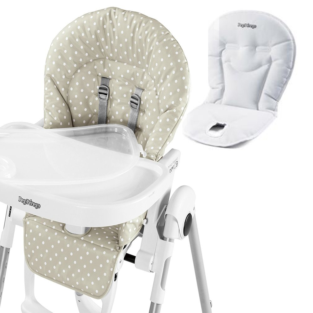 Peg Perego USA Prima Pappa Zero 3 High Chair w Peg Perego Baby Cushion White (Baby Dot Beige)