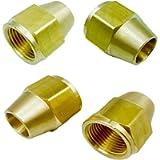 GaoLing 4 pcs Brass Tube Fitting, Short Flare Nut, SAE 45 Degree Flare,5/16' Tube O.D