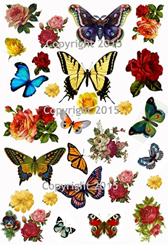 Vintage Butterflies and Flowers Collage Sheet Art Images for Decoupage, Scrapbooking, Jewelry ()
