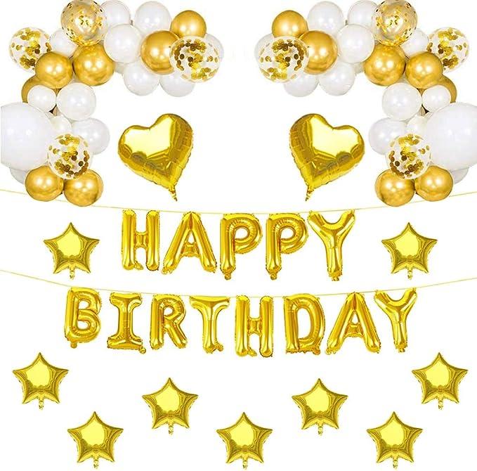 Globos de Cumpleaños Guirnaldas,Decoracion Cumpleaños Kit,Pancarta Feliz Cumpleaños Decoraciones para Fiestas de Globos,Decoraciones de Fiesta de Cumpleaños