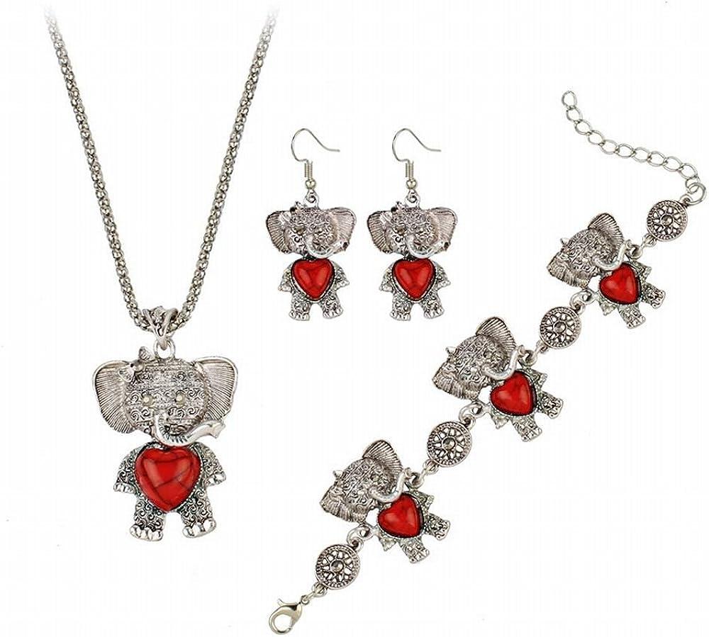 ZRDMN pendientes de botón colgantes joyas de perlas para la moda femenina de Europa y América exagerada pulsera bohemio pendientes turquesa elefante traje collar de tres piezas