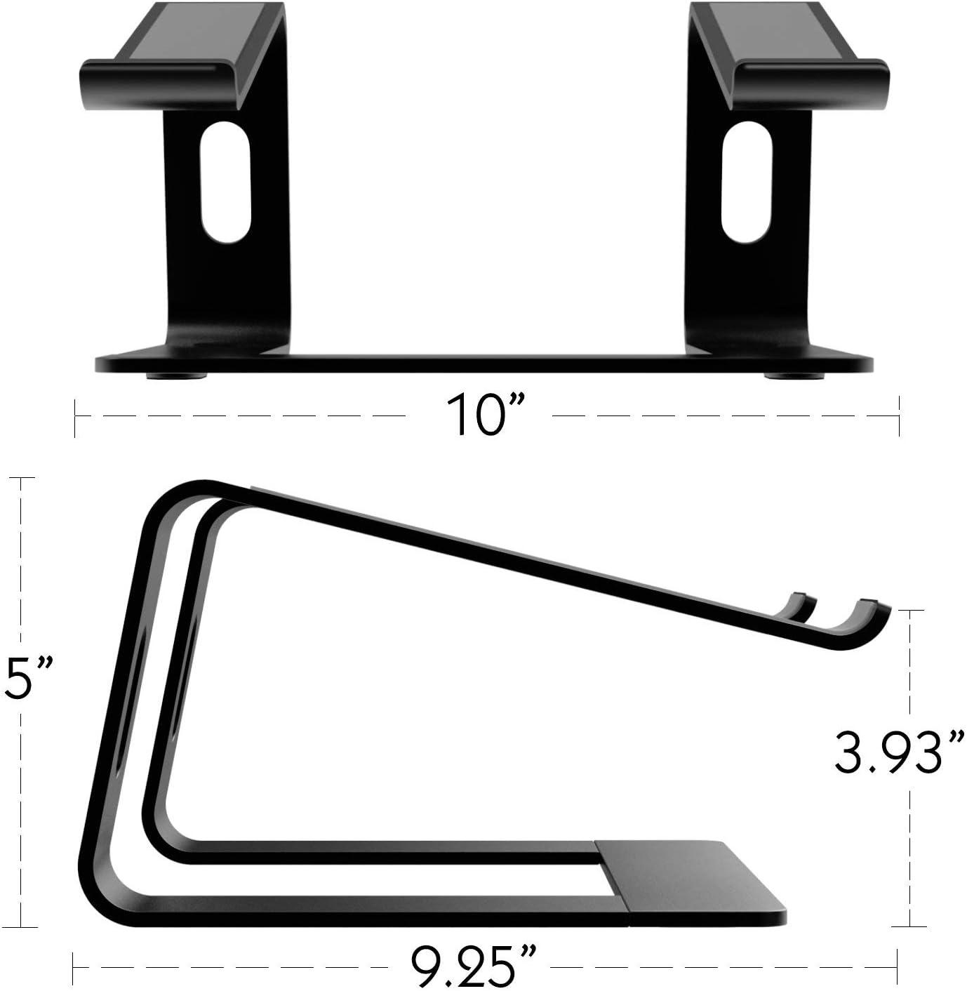 Alician CE Laptop Riser Stand Universal Detachable Portable Aluminum Alloy Notebook PC Desk Holder Black