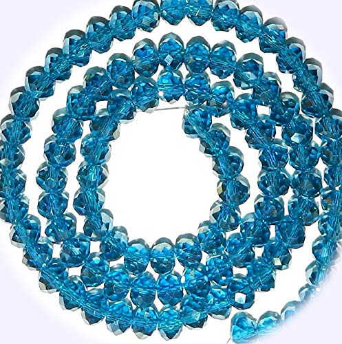 New Dark Carribean Blue AB 6mm Rondelle Faceted Cut Crystal Glass Jewelry-Making Bead 16-inch DIY Craft Supplies for Handmade Bracelet Necklace