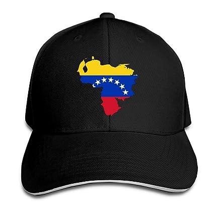 46073f7f40406 Bgejkos Mapa de la Bandera de Venezuela Algodón Sándwich para Adultos Gorra  de Pico Sombrero Deportivo