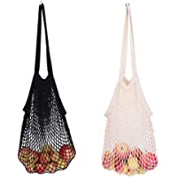 Net Shopping Bag Cotton Market String Portable/Washable/Reusable Net Shopping Tote Organizer with Long Handles for Mesh…